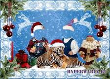 Новогодний шаблон для Photoshop - Детки с тигрятами