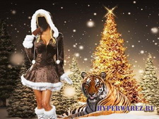 Шаблон для Photoshop-Снегурочка с тигром возле ёлки